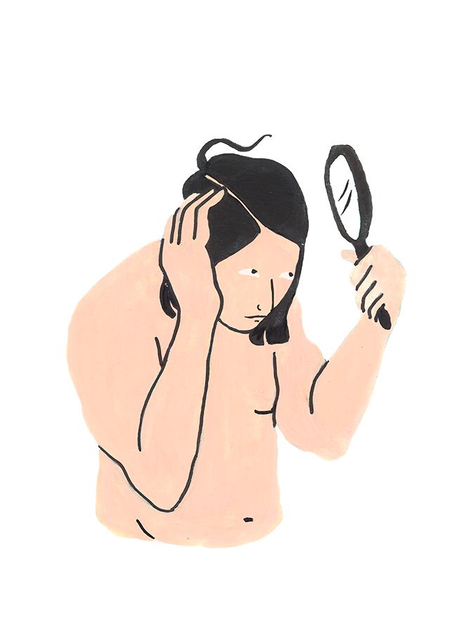 Illustration på en person som tittar på sin hårbotten med en handspegel